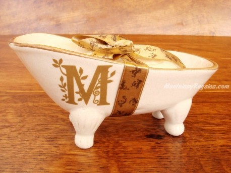 Jabonera de cerámica letra M