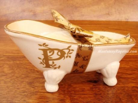 Jabonera de cerámica letra P