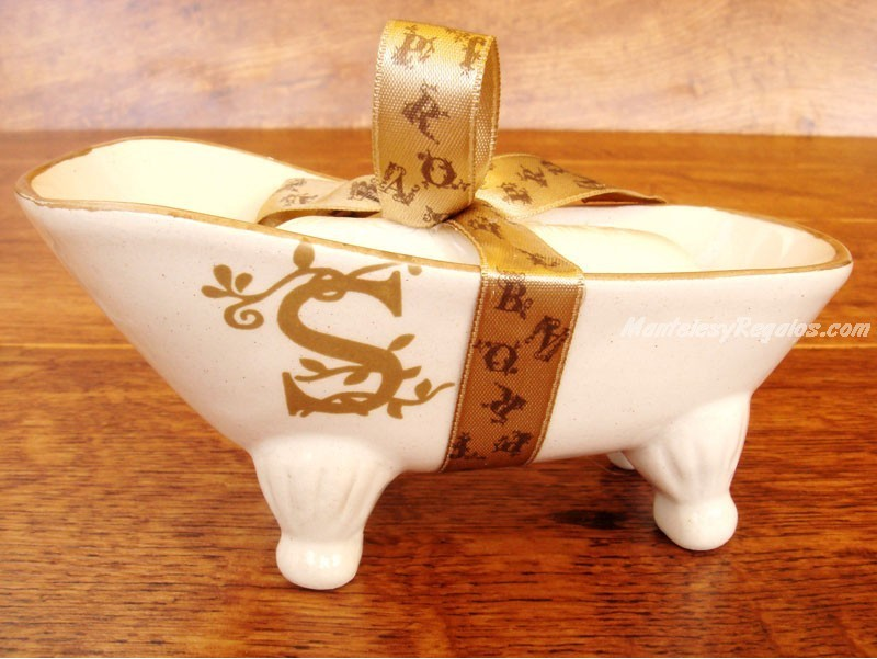 Jabonera de cer mica letra s for Articulos de ceramica