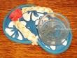 Sandalia portavelas - 11 cm. (fondo azul y blanco)