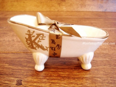 Jabonera de cerámica letra K