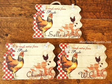 Placas gallinas para puertas - 14 cm. (3 distintas)