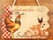 Placa gallinas para puertas - 14 cm. (Salle de Bain)