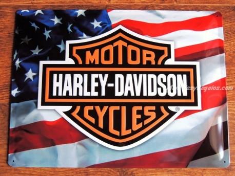 Placa metálica HARLEY DAVIDSON MOTORCYCLES - 30 x 40 cm.