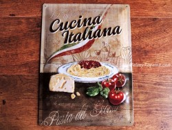 Placa metálica CUCINA ITALIANA - 30 x 40 cm. (Nostalgic-Art)
