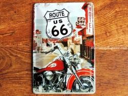 Placa metálica ROUTE 66 LONE RIDER - 20 x 30 cm. (Nostalgic-Art)