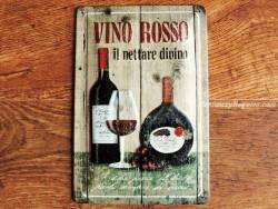 Placa metálica VINO ROSSO - 20 x 30 cm. de Nostalgic-Art