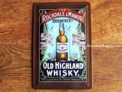 Placa metálica OLD HIGHLAND WHISKY - 20 x 30 cm. (Nostalgic-Art)