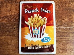 Placa metálica FRENCH FRIES - 20 x 30 cm. (Nostalgic-Art)