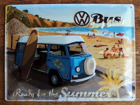 Placa metálica W BUS SURF COAST - 30 x 40 cm. de Nostalgic-Art