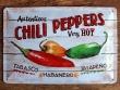 Placa metálica CHILI PEPPERS - 20 x 30 cm. (Nostalgic-Art)