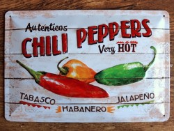 Placa metálica CHILI PEPPERS - 20 x 30 cm. (Nostalgic-Art)