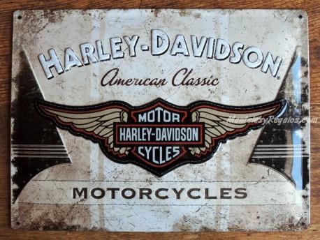 Placa metálica HARLEY DAVIDSON AMERICAN CLASSIC - 30 x 40 cm. (Nostalgic-Art)