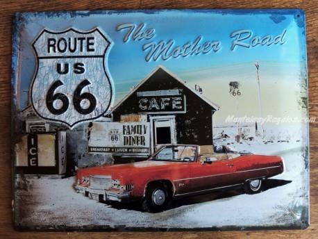 Placa metálica CAFÉ ROUTE 66 - 30 x 40 cm. de la firma Nostalgic-Art