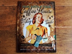 Placa metálica COFFEE HOUSE LADY - 30 x 40 cm. (Nostalgic-Art)