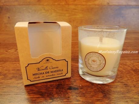 Vela perfumada con mecha de madera - Perfume de VAINILLA