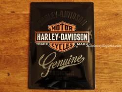 Placa metálica HARLEY-DAVIDSON GENUINE - 30 x 40 cm. de Nostalgic-Art