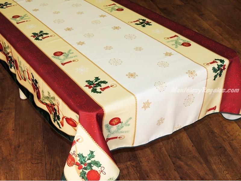 mantel antimanchas polister modelo navidad p blanco
