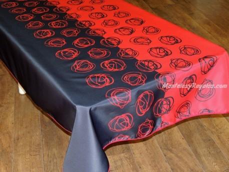 Mantel Antimanchas de Poliéster - Modelo BOLA TRENZADA - Rojo/Negro