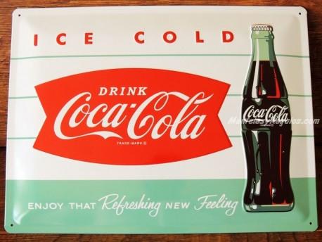 Placa metálica COCA-COLA ICE COLD - 30 x 40 cm. de Nostalgic-Art
