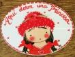 Placa para puerta niña vestido rojo (Aquí dorm una Princesa)