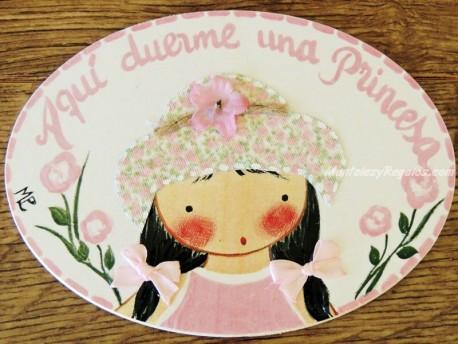 Placa para puerta niña vestido rosa (Aquí duerme una Princesa)
