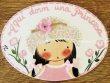 Placa para puerta niña vestido rosa (Aquí dorm una Princesa)