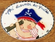 Placa para puerta niño pirata fondo blanco (Aquí duermen dos Piratas)
