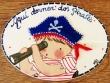 Placa para puerta niño pirata fondo blanco (Aquí dormen dos Pirates)