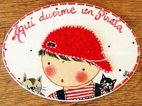 Placa para puerta niño con gatitos (Aquí duerme un Pirata)