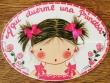 Placa para puerta niña vestido con tirantes y lazos (Aquí duerme una Princesa)
