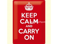 Placa metálica KEEP CALM AND CARRY ON - 30 x 40 cm. de Nostalgic-Art