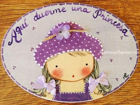 Placa para puerta niña sombrero topos (Aquí duerme una Princesa)