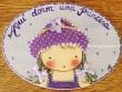 Placa para puerta niña sombrero topos (Aquí dorm una Princesa)