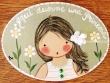 Placa para puerta niña vestido blanco rayas verdes (Aquí duerme una Princesa)