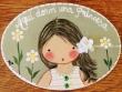 Placa para puerta niña vestido blanco rayas verdes (Aquí dorm una Princesa)
