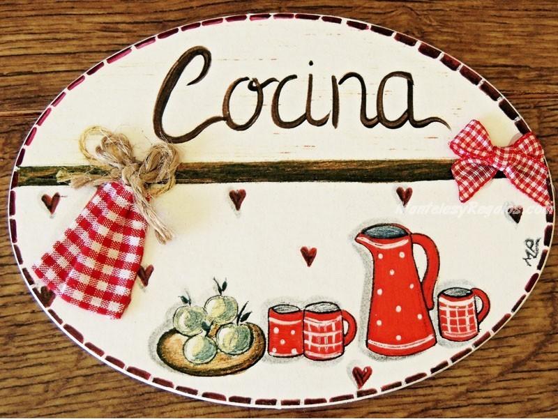 Placa para puerta cocina corazones - Carteles de cocina ...