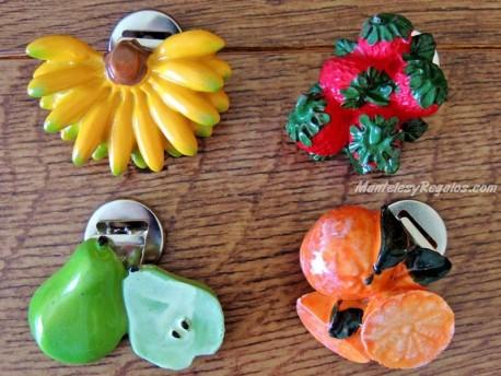 Imanes de nevera con clip - Modelo FRUTAS (4 frutas diferentes para elegir)