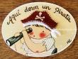 Placa para puerta niño pirata fondo beige (Aquí dorm un Pirata)