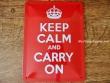 Placa metálica KEEP CALM AND CARRY ON - 15 x 20 cm. de Nostalgic-Art