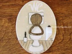 Placa para puerta WC fondo beige