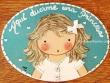 Placa para puerta niña vestido blanco con ribete (Aquí duerme una Princesa)