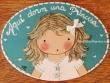 Placa para puerta niña vestido blanco con ribete (Aquí dorm una Princesa)