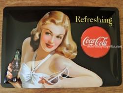 Placa metálica REFRESHING COCA-COLA - 20 x 30 cm. de Nostalgic-Art