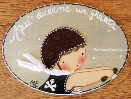Placa para puerta niño con chaleco (Aquí duerme un Pirata)