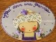 Placa para puerta niña sombrero flores (Aquí dorm una Princesa)