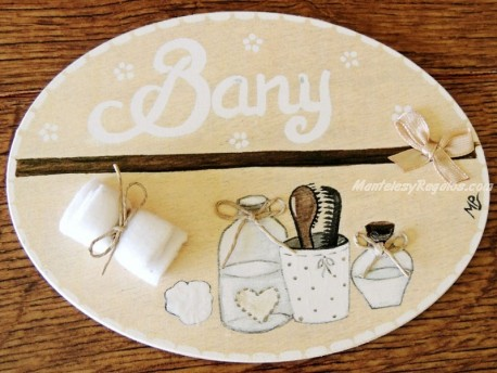 Placa para puerta baño fondo beige natural (Bany)