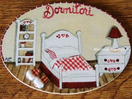 Placa para puerta dormitorio cabecero corazón (Dormitori)