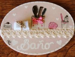 Placa para puerta baño fondo rosa (Baño)