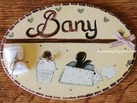 Placa para puerta baño fondo crema (Bany)